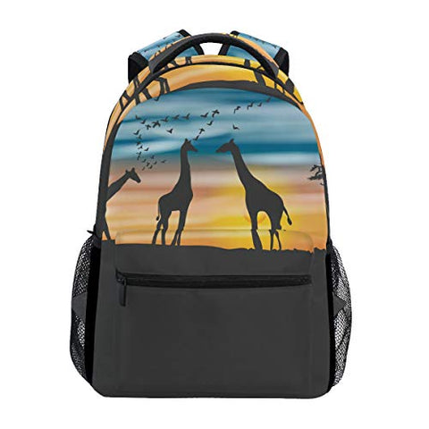 Backpack Travel Africa Acacia Giraffes School Bookbags Shoulder Laptop Daypack College Bag for