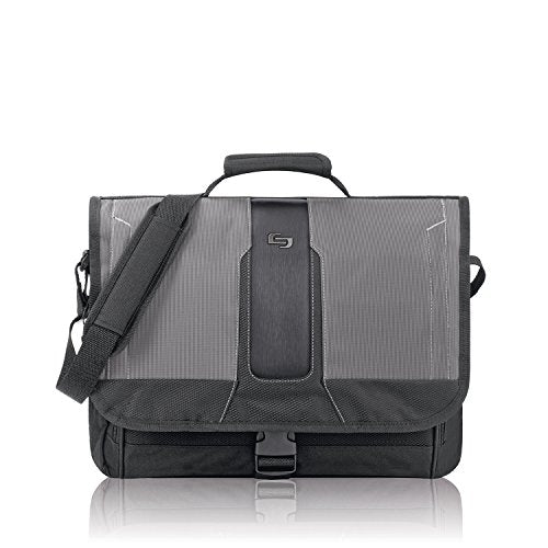 Solo Supreme 15.6 Inch Laptop Messenger, Black/Grey