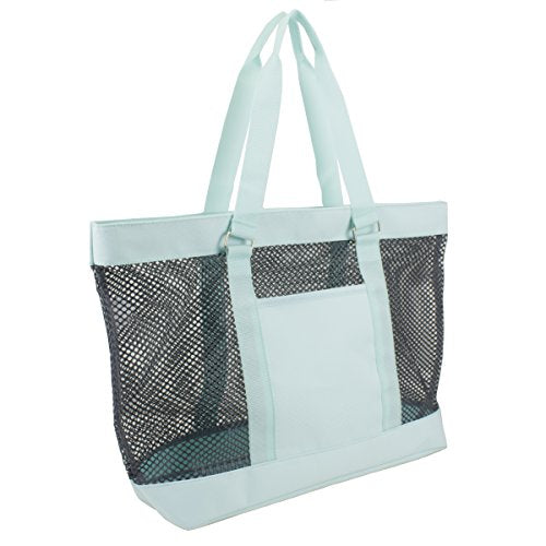 Eastsport Mesh Tote Beach Bag, Graphite/Icy Blue