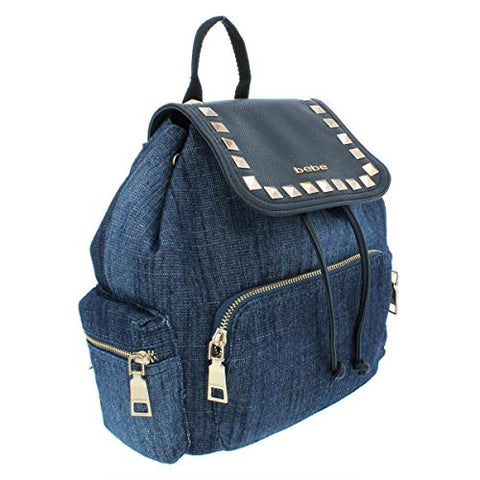Bebe Womens Donna Denim Faux Leather Trim Backpack Blue O/S
