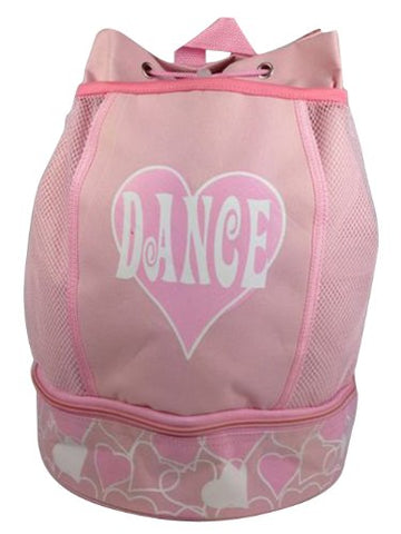 Glittered Heart Dance Drawstring Backpack With Netted Side Pockets (Pink Canvas Glittered Dance
