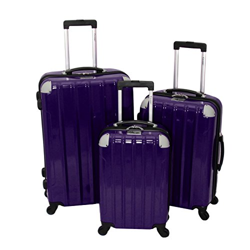 Chariot Vercelli 3 Piece Hardside Lightweight Upright Spinner Luggage Set, Purple, One Size