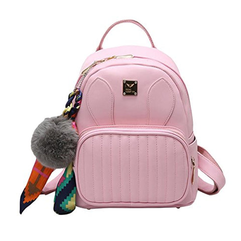 ABage Women's Leather Backpack Purse College School Travel Casual Daypack Handbag, Pink