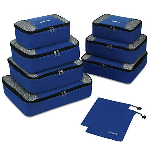 Gonex Rip-Stop Nylon Travel Organizers Packing Bags Deep Blue