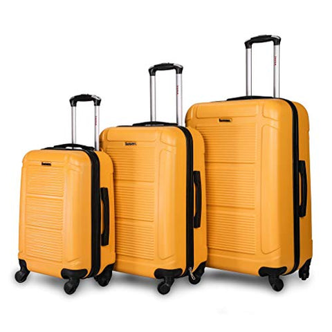 "Inusa Pilot Lightweight Hardside Spinner 3 Piece Set 20"", 24"", 28"" Mustard"