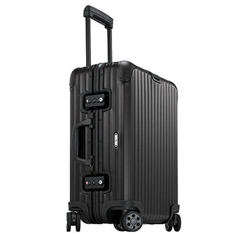 "Rimowa Topas Stealth Aluminium Carry on Luggage 21"" Inch Multiwheel 32L TSA Lock Spinner Suitcase Matte Black"