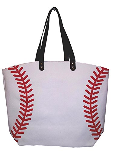X-Large 22 in Wide Baseball Design Beach Bag Tote - Personalization Available (Baseball - Blank)