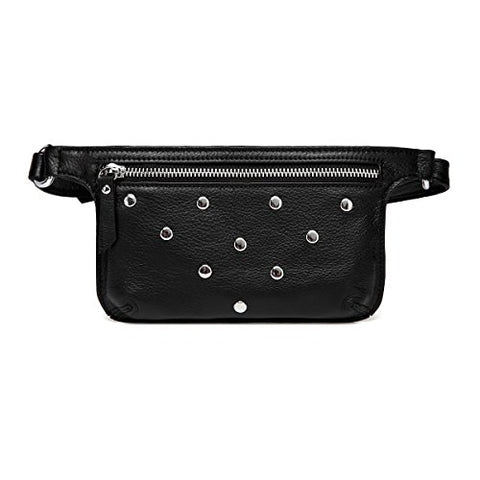 Vicenzo Leather Jacey Studded Leather Waistbag (Black)