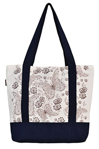 Vietsbay'S Women Floral Vintage Patternprint Heavyweight White Canvas Handbags