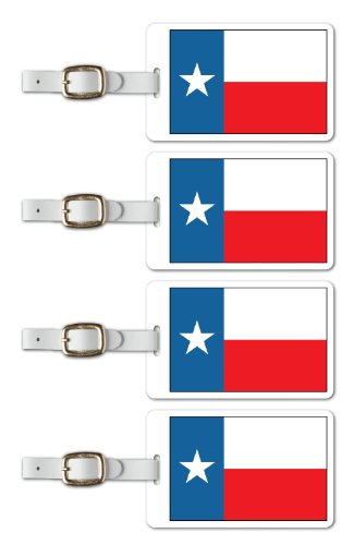 Tag Crazy Texas Premium Luggage Tags Set Of Four, Red, One Size