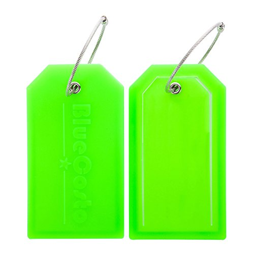 BlueCosto 2x Luggage Tags Suitcase Tag Bag Identifier ID Labels Office Travel Label - Green