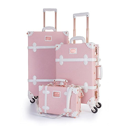 UNIWALKER Vintage Suitcase Embossed Pink Floral 3 Piece Luggage Set (Embossed pink)