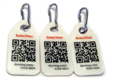 Dynotag Web/Gps Enabled Qr Code Smart Micro Zipper Tags - 3 Identical+Snaphooks