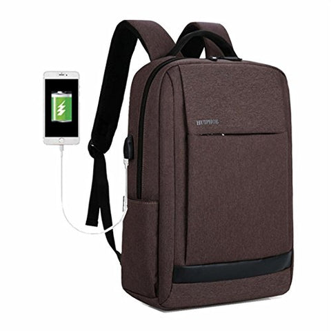 Laptop Outdoor Backpack Travel Hiking Rucksack Camping Knapsack Shoulder Schoolbag (Horizontal Zip Brown)