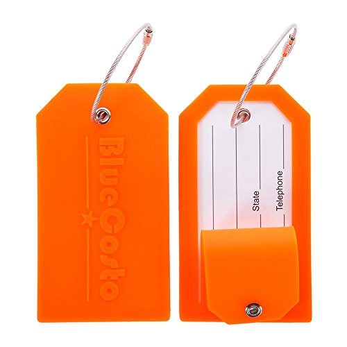 BlueCosto 2 Pack Luggage Tag Label Suitcase Tags Travel Bag Labels w/Privacy Cover - Orange