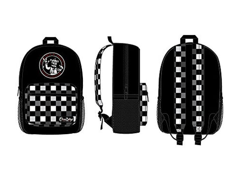 Fnaf Black With Checkered Print Backpack, Freddy Fazbear Camera Snapshot Logo, Black Five Nights At
