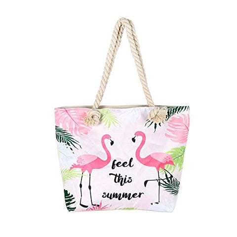 BIBITIME Canvas Tote Bag Flamingo Reusable Grocery Bags with Zipper Closure Two Thick Rope Hand
