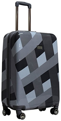 "Nicole Miller Rainbow 24"" Hard-Sided Luggage Spinner (Silver)"