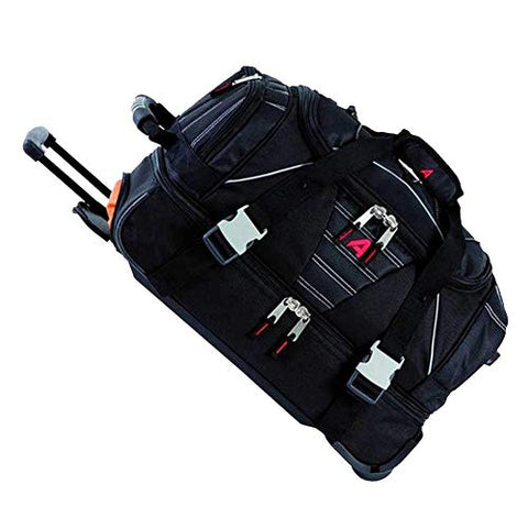 Athalon Luggage Carryon Equipment Wheeled Duffel Bag, Black, One Size