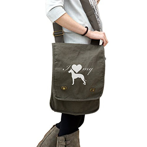 I Love My Great Dane Dog Silhouette Heart 14 Oz. Authentic Pigment-Dyed Canvas Field Bag Tote