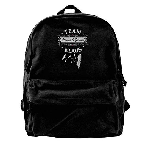 WUHONZS Canvas Backpack Vampire Diaries Originals Team Klaus Rucksack Gym Hiking Laptop Shoulder Bag Daypack for Men Women