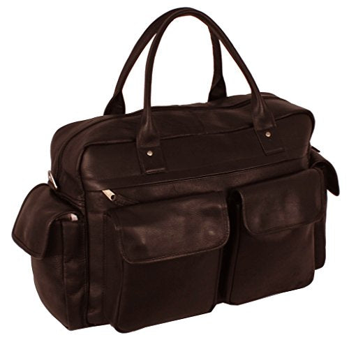 Latico Leathers Corolla Carry On Bag, Cafe, Easy Entry Travel Bag for All Occasions, Adjustable Duffel