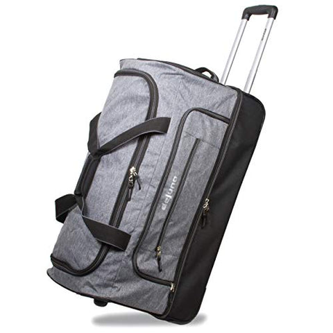 "Dejuno 28"" Lightweight Denim Drop Bottom Rolling Duffel Bag-Grey, One Size"