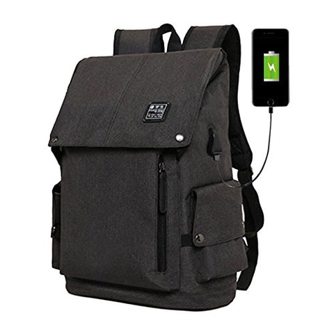 ABage Anti Thief Travel College School 15.6 Inch Laptop Backpacks Book Bag USB Charging, Black