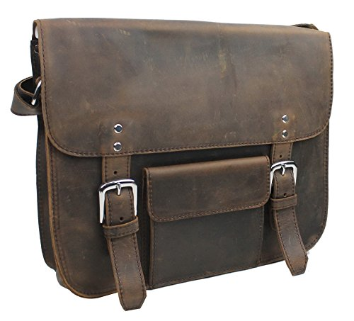 "Vagabond Traveler 15"" Cowhide Leather Stylish Casual Messenger Bag L59. Distress"