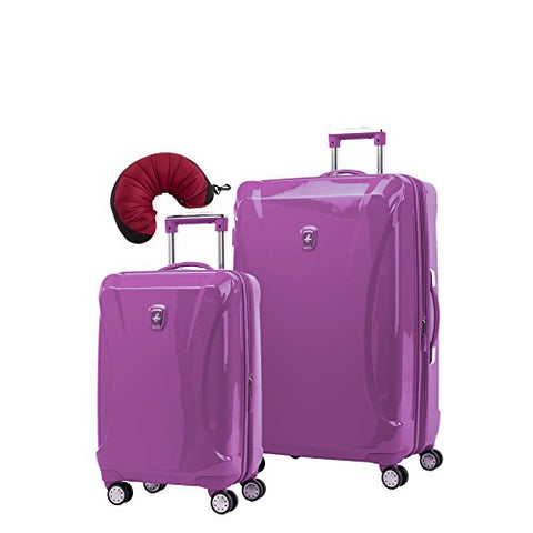 Atlantic Ultra Lite 4 Hardside 21 and 28-Inch Expandable Spinners, Travel Pillow (Bright Violet)