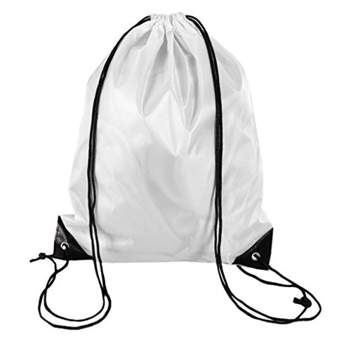 Baoblaze Drawstring Backpack RuckSack Waterproof Travelling Clothes Shoes Carry Bag - White