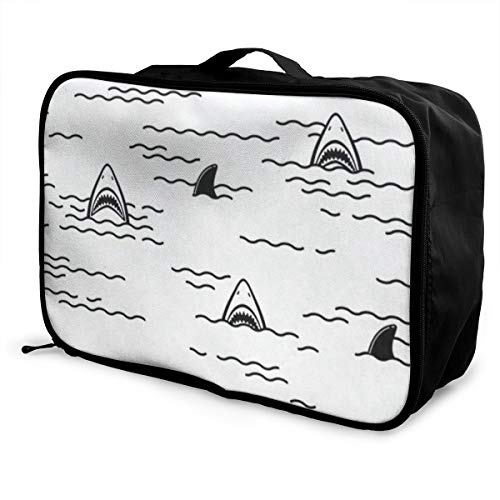 Travel Bags Cute Ocean Shark Mouth Portable Duffel Fabulous Trolley Handle Luggage Bag