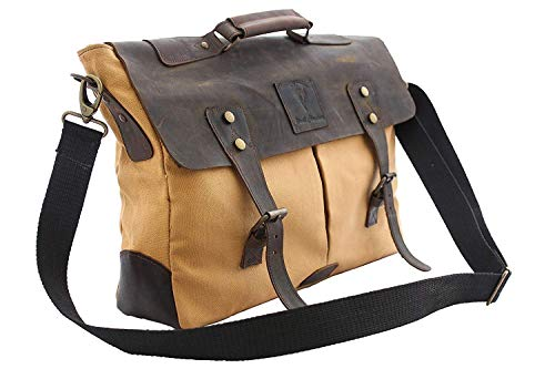 "Devil Hunter Handmade Retro 18"" Leather-Canvas Laptop Messenger/Satchel Bag"