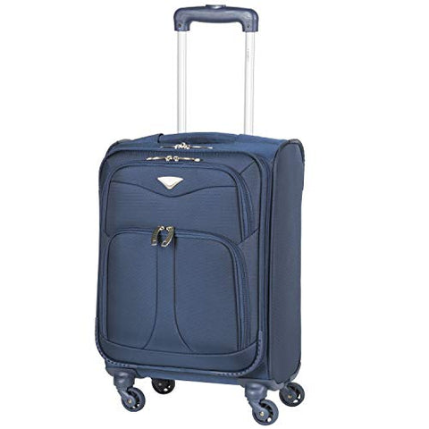 Flight Knight Lightweight 4 Wheel 800D Soft Case Suitcases Maximum Size For Delta, United and SkyWest Airlines - Cabin Navy FFK0039_S