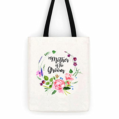 Mother of the Groom Floral Wedding Cotton Canvas Tote Bag School Day Trip Bag