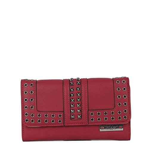 Nikky Women'S Studded Card Holder Wallet Travel Purse, Red, One Size