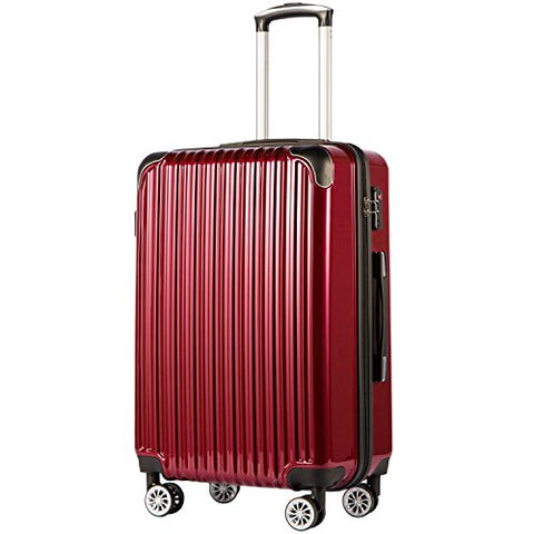 "COOLIFE Luggage Expandable(only 28"") Suitcase PC+ABS Spinner 20in 24in 28in Carry on (Wine Wind New, L(28in))"