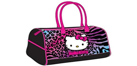 Hello Kitty Duffle Bag Pink / Purple Animal Print - 17""