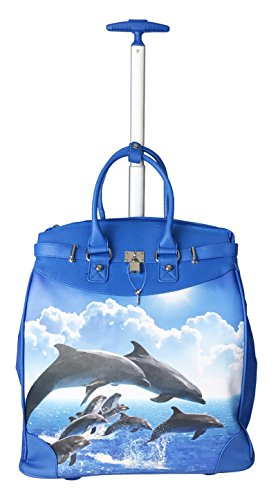 Trendy Flyer Computer/Laptop Rolling Bag 2 Wheel Case Fish / Dolphin
