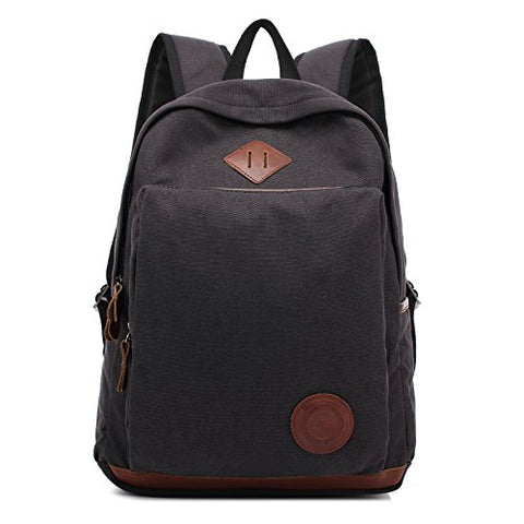 Augur Vintage Canvas Backpack Durable Laptop Rucksack Classic Travel Backpack (Large, Black)