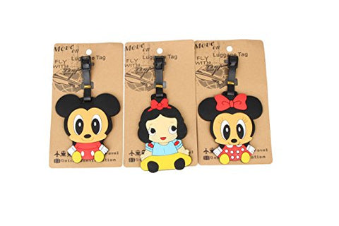 Set of 3 - Super Cute Kawaii Cartoon Silicone Travel Luggage ID Tag for Bags Suitcases (Assorted)