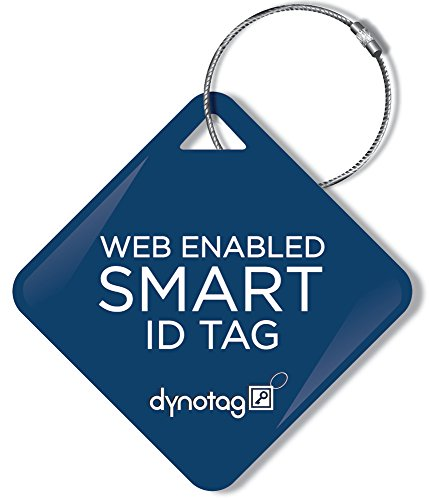 Dynotag Web/Gps Enabled Qr Smart Deluxe Steel Luggage Tag & Braided Steel Loop: Square (Navy Blue)