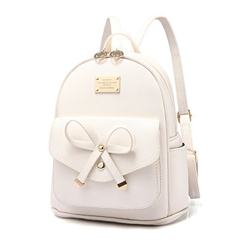Pincnel Girls Bowknot Cute Leather Backpack Mini Shoulder Bag Backpack Purse For Women, Beige