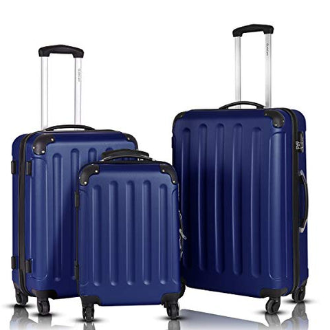 Goplus 3Pcs Luggage Set, Hardside Travel Rolling Suitcase, 20/24/28 Rolling Luggage Upright, Hardshell Spinner Luggage Set with Telescoping Handle, Coded Lock Travel Trolley Case (Dark Blue)