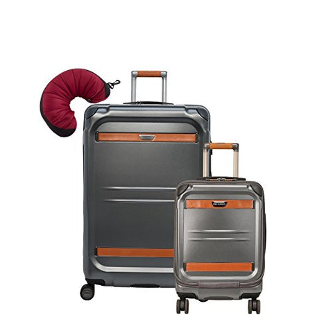 "Ricardo Beverly Hills Ocean Drive | 3-Piece Set | 19"" and 29"" Spinners, Travel Pillow (Silver)"