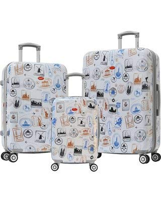 Olympia USA Metropolitan 3 Piece Hardside Spinner Luggage Set (Stamp)
