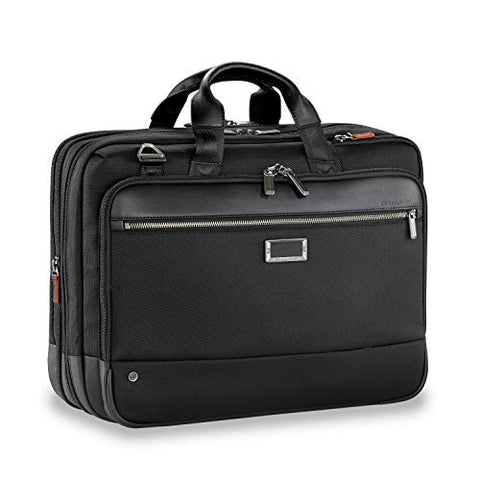 Briggs & Riley Large Expandable Brief Briefcase Black One Size