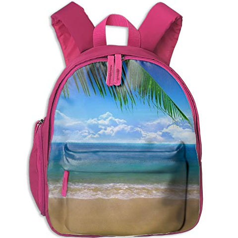 Beach Print Durable Kids Back to School Backpack Canvas Book Bag