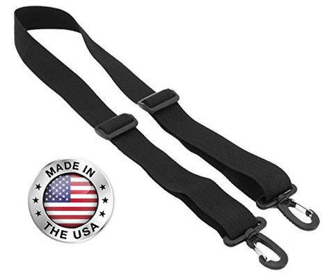 "Made In Usa Black Poly Webbing Replacement Travel Luggage Bag Adjustable Shoulder Strap 1.5""W X"