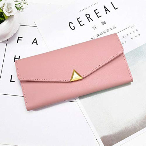 Fashion Women Lady PU Leather Clutch Wallet Long Card Holder Purse Handbag (Color - Pink)